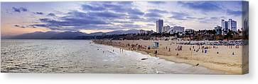 Santa Monica Sunset Panorama Canvas Print by Ricky Barnard