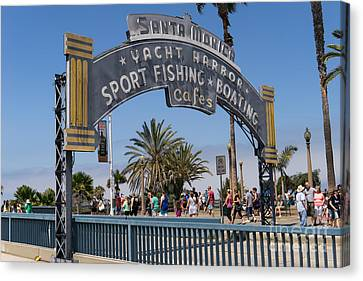 Roller Coaster Canvas Print - Santa Monica Yacht Harbor At Santa Monica Pier In Santa Monica California Dsc3669 by Wingsdomain Art and Photography