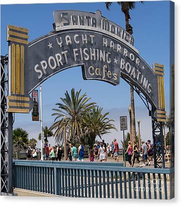 Roller Coaster Canvas Print - Santa Monica Yacht Harbor At Santa Monica Pier In Santa Monica California Dsc3669sq by Wingsdomain Art and Photography