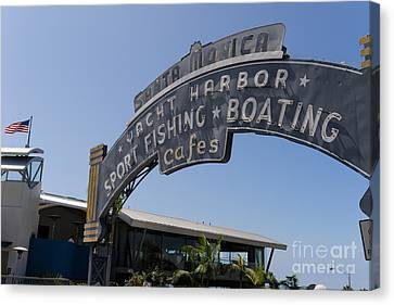 Roller Coaster Canvas Print - Santa Monica Yacht Harbor At Santa Monica Pier In Santa Monica California Dsc3671 by Wingsdomain Art and Photography