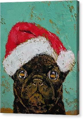 Santa Pug Canvas Print by Michael Creese