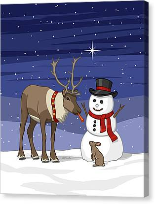 Santa Reindeer And Snowman Canvas Print