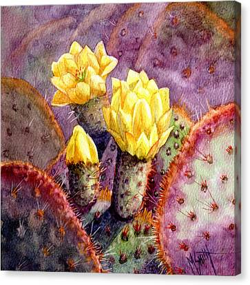 Canvas Print featuring the painting Santa Rita Prickly Pear Cactus by Marilyn Smith