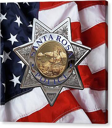 Santa Rosa Police Departmen Badge Over American Flag Canvas Print by Serge Averbukh