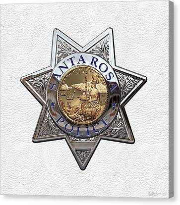 Police Art Canvas Print - Santa Rosa Police Department Badge Over White Leather by Serge Averbukh