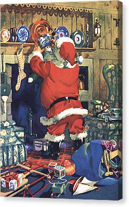 Santa Stuffing Stockings With Toys On Christmas Eve Canvas Print