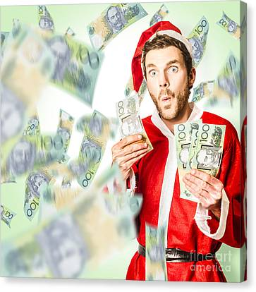 Santa With Australian Money At Christmas Sales Canvas Print by Jorgo Photography - Wall Art Gallery