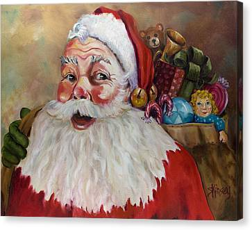 Santa With Bag Of Toys Canvas Print by Sheila Kinsey