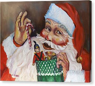 Santa With Stocking Canvas Print by Sheila Kinsey