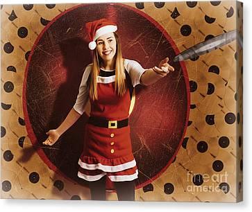 Santa Woman Spinning Christmas Music At Club Canvas Print