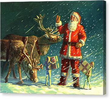 Santas And Elves Canvas Print