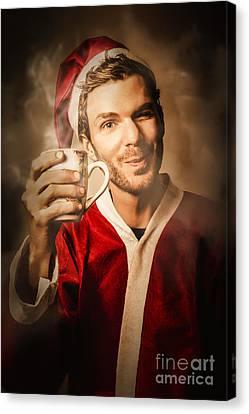 Santas Helper Drinking Hot Christmas Coffee Canvas Print by Jorgo Photography - Wall Art Gallery
