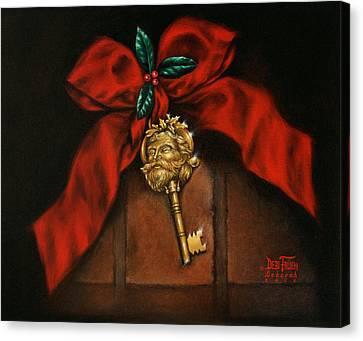 Santa's Key Canvas Print by Debi Frueh