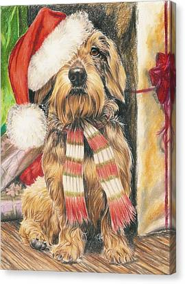 Canvas Print featuring the drawing Santas Little Yelper by Barbara Keith