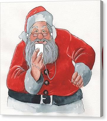 Santa's New Ipod Canvas Print