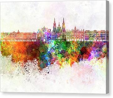 Painting Illustration Cityscape Paint Splash Skyline Warsaw Canvas Art Print