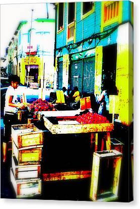 Santiago Fruit Stalls Canvas Print by Funkpix Photo Hunter