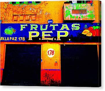 Santiago Funky Fruit Shop Canvas Print by Funkpix Photo Hunter