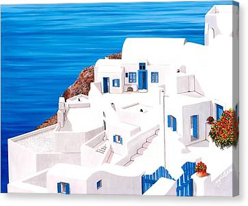 Above Atlantis In Santorini - Prints Of Original Oil Painting Canvas Print by Mary Grden Fine Art Oil Painter Baywood Gallery