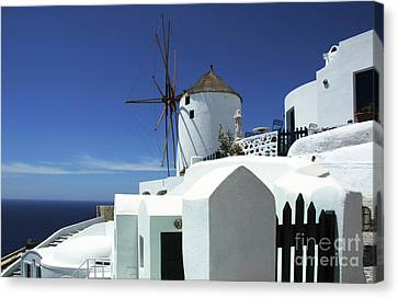 Canvas Print featuring the photograph Santorini Greece Architectual Line 5 by Bob Christopher
