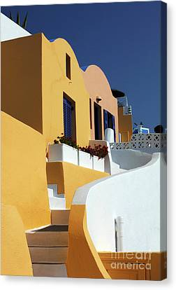 Canvas Print featuring the photograph Santorini Greece Architectual Line by Bob Christopher