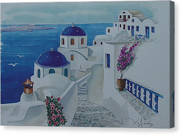 Sea Birds Canvas Print - Santorini Greece Blue Churches by Helidon