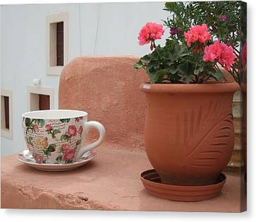 Santorini Greece Cafe Teacup And Flowerpot Canvas Print by Nikki Bordon