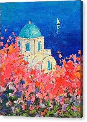 Santorini Impression - Full Bloom In Santorini Greece Canvas Print