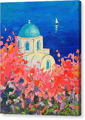 Cyclades Canvas Print - Santorini Impression - Full Bloom In Santorini Greece by Ana Maria Edulescu