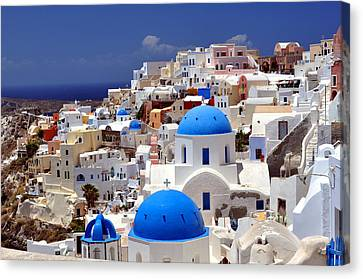 Greek Canvas Print - Santorini Island. by Fernando Barozza
