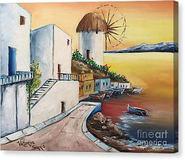 Santorini Island  Canvas Print by Viktoriya Sirris
