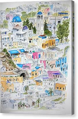 Santorini Canvas Print by Mary Kay Holladay