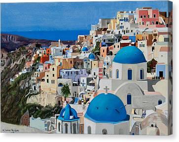 Santorini Canvas Print by Mary Susan Vaughn