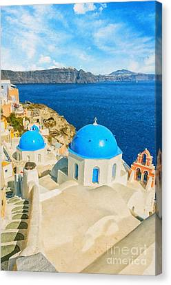 Santorini Oia Church Caldera View Digital Painting Canvas Print