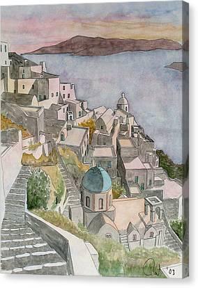 Santorini Canvas Print by Rod Jones