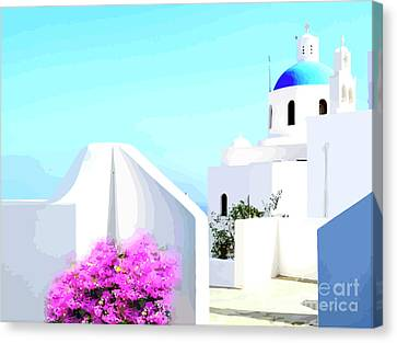 Rooftop Canvas Print - Santorini Rooftop by Clive Littin