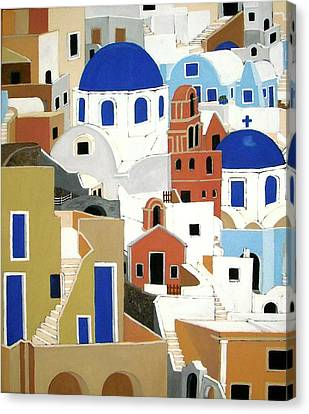 Santorini Canvas Print by Stephanie Moore