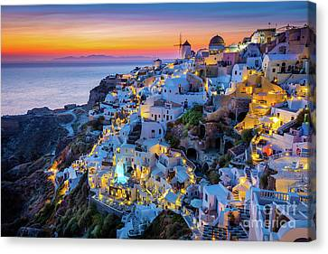 Santorini Sunset Canvas Print by Inge Johnsson