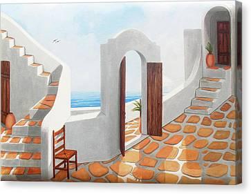 Santorini View-original Oil Painting Available Or Prints Canvas Print