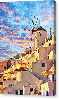 Santorini Windmill At Oia Digital Painting Canvas Print