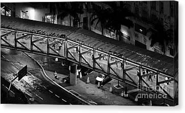 Sao Paulo - Metallic Footbridge At Night Canvas Print by Carlos Alkmin