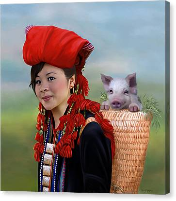Sapa Girl And Her Pig - New Canvas Print by Thanh Thuy Nguyen