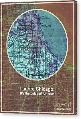Sarah Bernhardt Quote Of Chicago, Chicago Old Map Canvas Print by Pablo Franchi