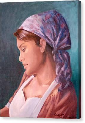 Sarah The Kitchen Maid  After Johnnie Liliedahl Canvas Print by Quwatha Valentine