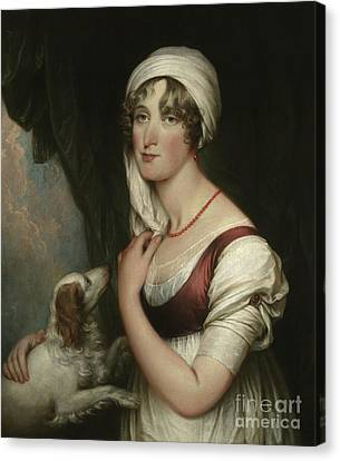 Sarah Trumbull With A Spaniel Canvas Print by John Trumbull