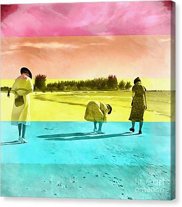 Canvas Print featuring the painting Sarasota Series Beachcombers by Edward Fielding