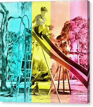 Canvas Print featuring the painting Sarasota Series Trailer Park Playground by Edward Fielding
