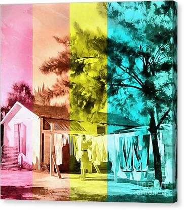 Canvas Print featuring the painting Sarasota Series Wash Day by Edward Fielding