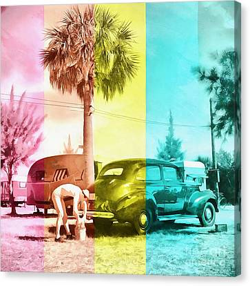 Canvas Print featuring the painting Sarasota Series Wash The Car by Edward Fielding