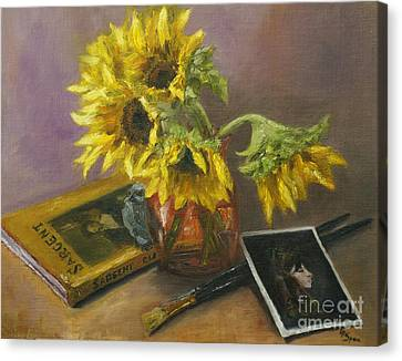 Sargent And Sunflowers Canvas Print